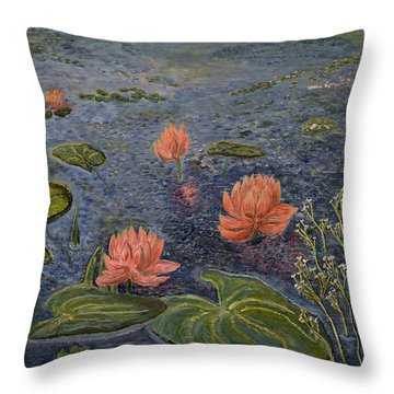Water Lilies Lounge Throw Pillow by Felicia Tica