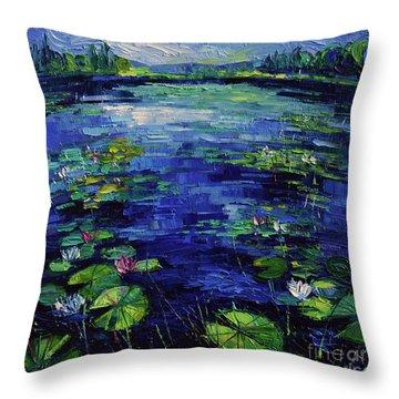 Water Lilies Magic Throw Pillow