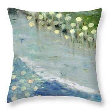 Throw Pillow featuring the painting Water Lilies by Michal Mitak Mahgerefteh