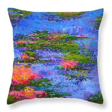 Throw Pillow featuring the painting Waterlilies Lily Pads - Modern Impressionist Landscape Palette Knife Work by Patricia Awapara