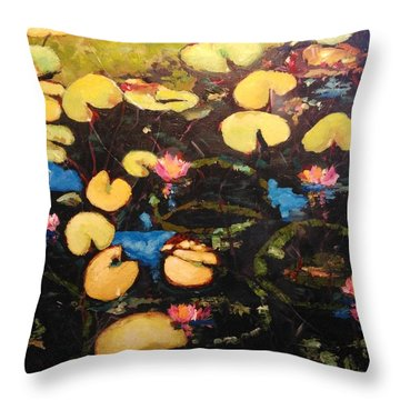 Throw Pillow featuring the painting Water Lilies by Ray Khalife