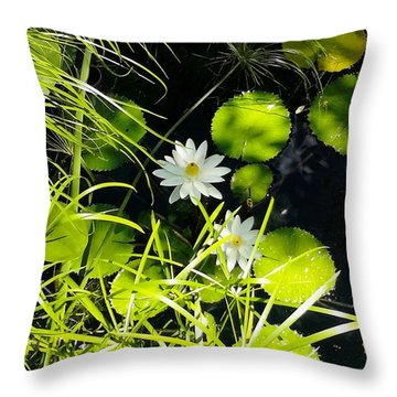 Water Lillies Throw Pillow by John Parry