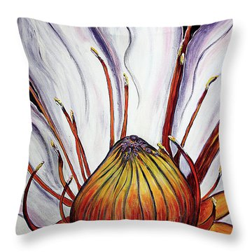 Throw Pillow featuring the painting Water Lilly  by Jolanta Anna Karolska