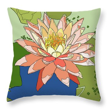 Water Lily And Duck Weed Throw Pillow