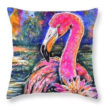 Water Lily And Flamingo Throw Pillow