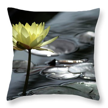 Water Lily And Silver Leaves Throw Pillow