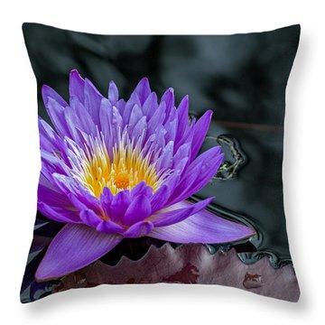 Water Lily Blue Throw Pillow