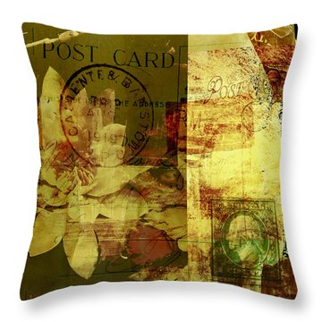 Water Lily Collage Throw Pillow by Ann Powell