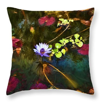 Throw Pillow featuring the digital art Water Lily Dreams by Terry Cork
