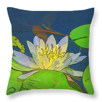 Throw Pillow featuring the digital art Water Lily by Maciek Froncisz