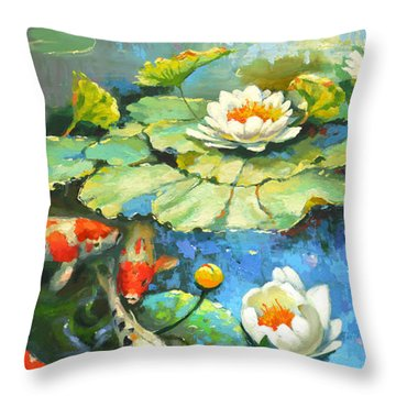 Water Lily Or Solar Pond      Throw Pillow