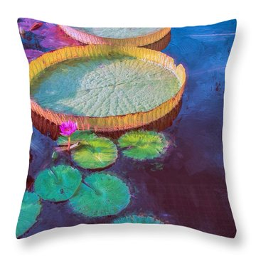 Water Lily Pattern Throw Pillow
