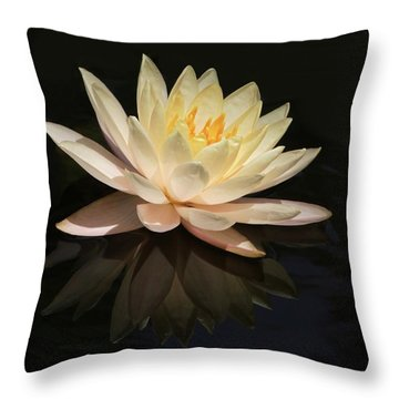 Water Lily Reflected Throw Pillow by Sabrina L Ryan