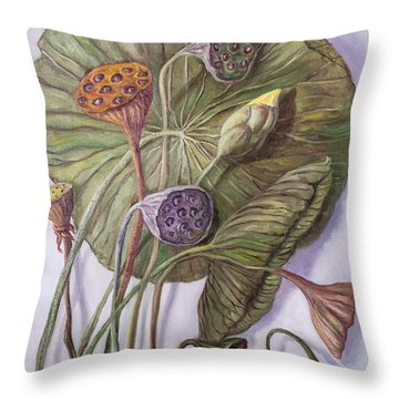 Water Lily Seed Pods Framed By A Leaf Throw Pillow