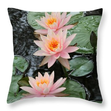 Water Lily Trio Throw Pillow