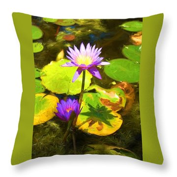 Water Lily Van Goh Throw Pillow