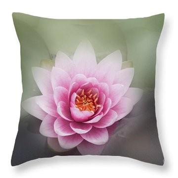 Water Lotus Flower Throw Pillow