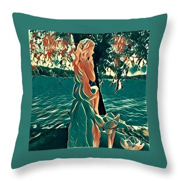 Water Nymph Throw Pillow