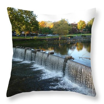 Throw Pillow featuring the photograph Water Over The Dam by Joel Deutsch