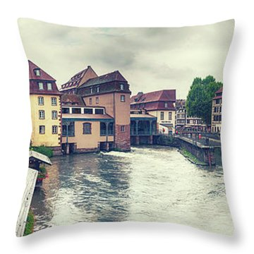 Throw Pillow featuring the photograph water panorama in Strasbourg  by Ariadna De Raadt
