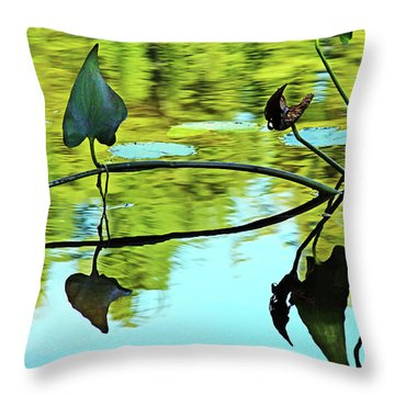 Water Plants Throw Pillow by Debbie Oppermann
