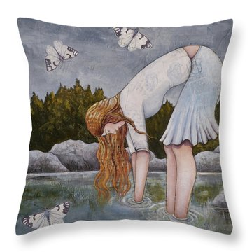 Throw Pillow featuring the painting Water Prayer by Sheri Howe