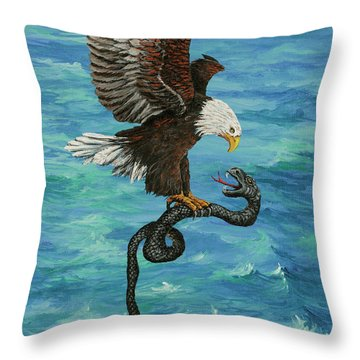 Throw Pillow featuring the painting Water Protector by Darice Machel McGuire