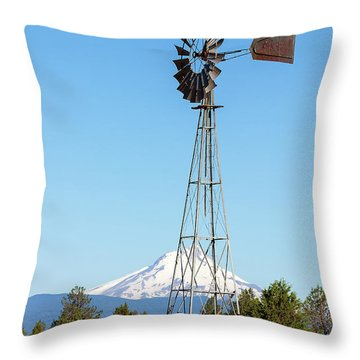 Water Pump Windmill In Central Oregon Farm Throw Pillow by David Gn