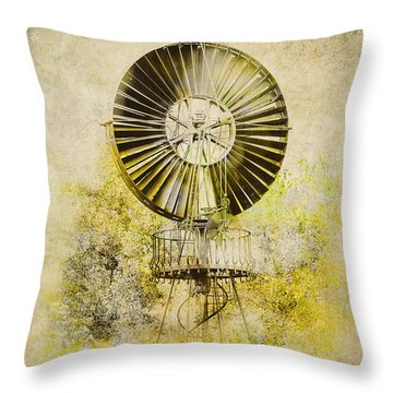 Throw Pillow featuring the photograph Water-pumping Windmill by Heiko Koehrer-Wagner