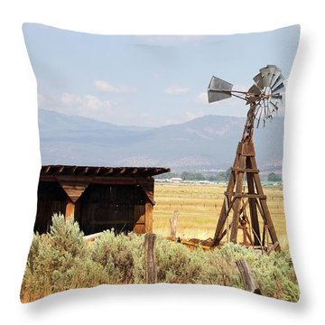 Water Pumping Windmill Throw Pillow