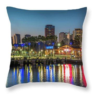 Water Reflecting Lights Sunset Long Beach Ca Throw Pillow