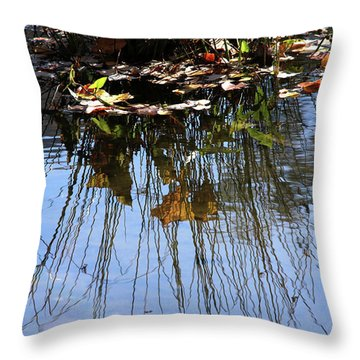 Water Reflection Of Plant Growing In A Stream Throw Pillow