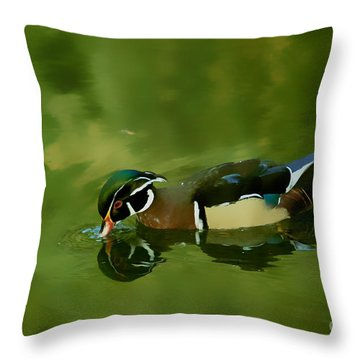 Male Wood Duck Water Reflections Throw Pillow by Claudia Ellis