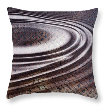 Throw Pillow featuring the digital art Water Ripple On Rusty Steel Plate  by Michal Boubin