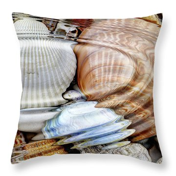 Water Ripples Over The Stone Pebbles Throw Pillow by Michal Boubin