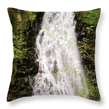 Water Roaring Down Cascade Falls, Farmington, Maine  -30377 Throw Pillow