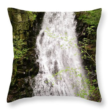Water Roaring Down Cascade Falls, Farmington, Maine  -30377 Throw Pillow