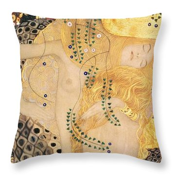 Water Serpents I Throw Pillow by Gustav klimt