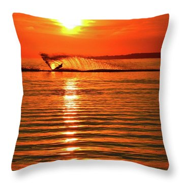 Water Skiing At Sunrise  Throw Pillow
