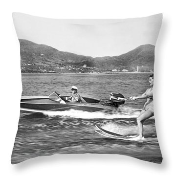 Water Skiing In Acapulco Throw Pillow