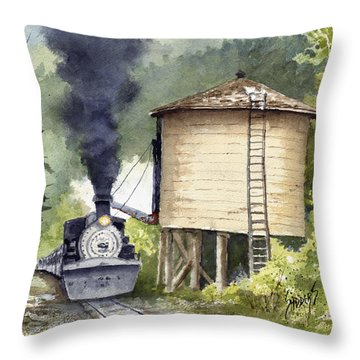 Throw Pillow featuring the painting Water Stop by Sam Sidders