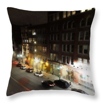 Throw Pillow featuring the digital art Water Street Looking South From The Marshall Building by David Blank