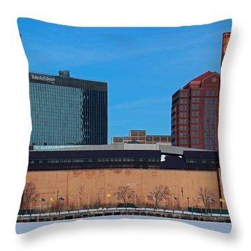 Water Street Steam Plant In Winter Throw Pillow