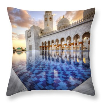 Water Sunset Temple Throw Pillow