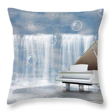 Water Synphony For Piano Throw Pillow