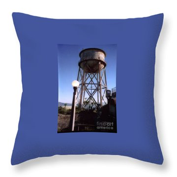 Water Tank Tower Alcartraz Throw Pillow by Ted Pollard