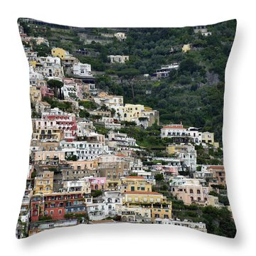 Water Taxi From Amalfi To Positano Throw Pillow