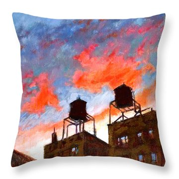 Water Towers At Sunset No. 1 Throw Pillow