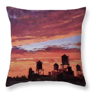 Water Towers At Sunset No. 4 Throw Pillow