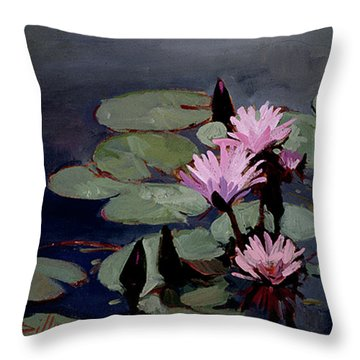 Water Trio - Water Lilies Throw Pillow